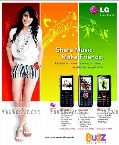 Spinz Powder and LG Mobile AD Photo Of Genelia D Souza