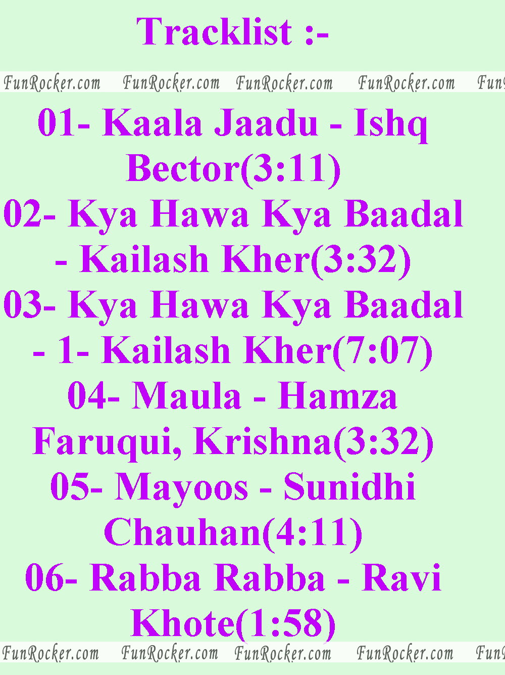 Allah Ke Banday Official Track List