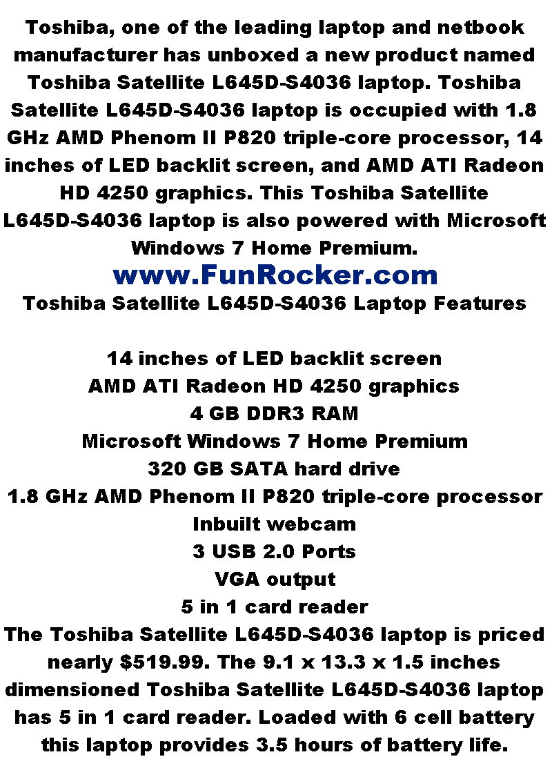 New Lap Top Technology Introduced of Toshiba