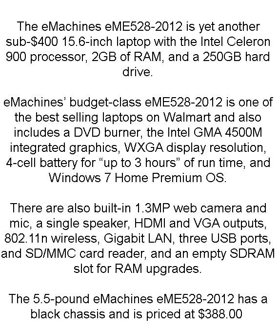 eMachines eME528-2012 15.6″ Budget Laptop Overview