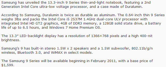 Samsung Thin-and-Light Laptop 9 Features