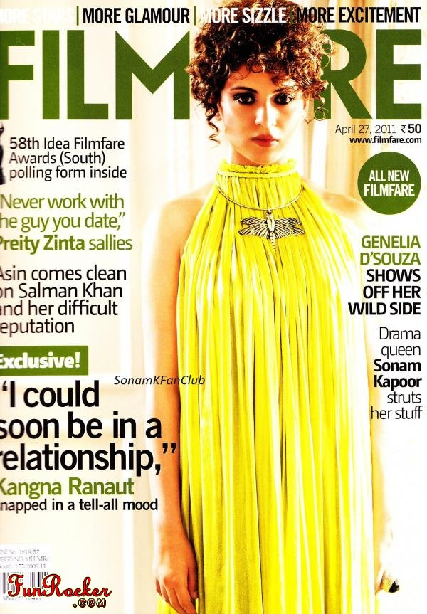 Kangana Ranaut Filmfare Magazine India April 2011