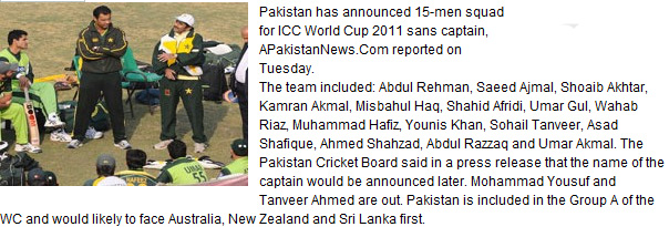 Pakistani Team For Cricket World Cup 2011