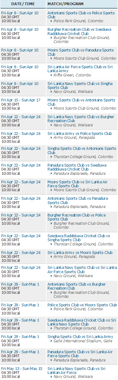 Sri Lanka Premier League Schedule
